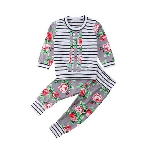 Cute Newborn Kid Baby Boy Girl 2pcs Clothes Sets Long Sleeve Tops Pants Floral Cute Outfits Clothing Set Baby Girls 0-3T