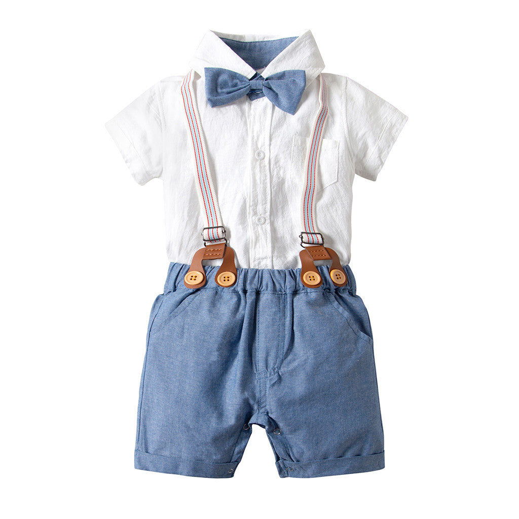 Baby Boy's Bow Tie Shirt + Suspender Short Clothing Set