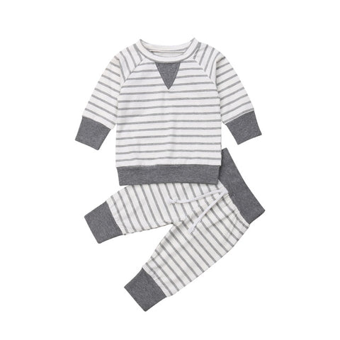Newborn Infant Baby Boys Clothes Sets Tops T Shirt Long Sleeve Pants Cotton Striped Casual Outfit Set Baby Boy 0-24M