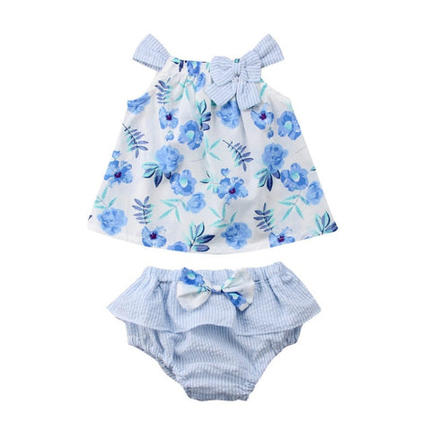 Newborn Baby Girls Clothes Set Sleeveless Summer Bow Floral Dress Tops Ruffle Shorts Cotton Girl Clothing Casual Outfit  0-3T