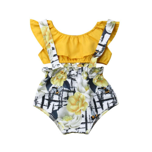 Bright Floral Ruffled Shirt + Bibs Set