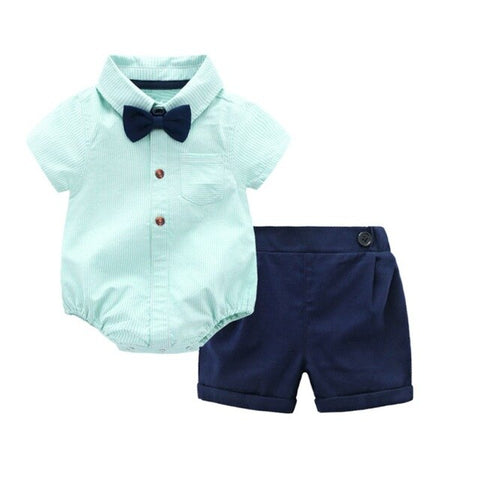 Newborn Baby Boy's Bow Tie Romper + Short Clothing Set