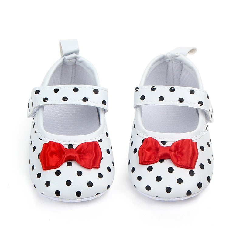 Toddler Girl's Anti-slip Polka Dot Bowknot Shoes