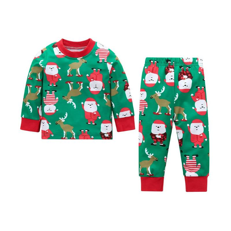 2pcs/Set Christmas Elk Newborn Baby Home Outfits Cotton T-shirt Pants Suit  Clothes Xmas Baby Clothing