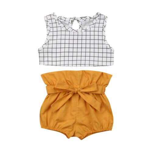 Newborn Girl's Sleeveless Plaid Top + Short Outfit Set