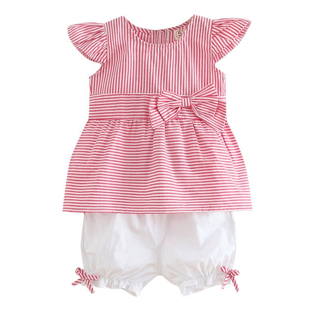 2019 Summer Fashion baby girls clothing set Newborn Kid Baby Girl Striped Bow Patchwork Top Shirt Shorts 2PCS Outfits Clothes