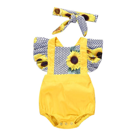 Sunflower Design Baby Girl's Romper + Headband Clothing Set