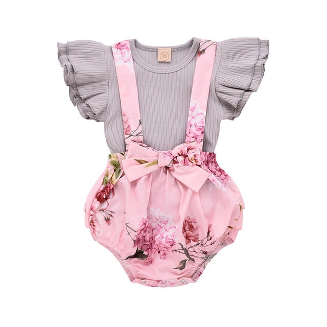 Toddler Baby Girl Ruffle Sleeve Floral Romper
