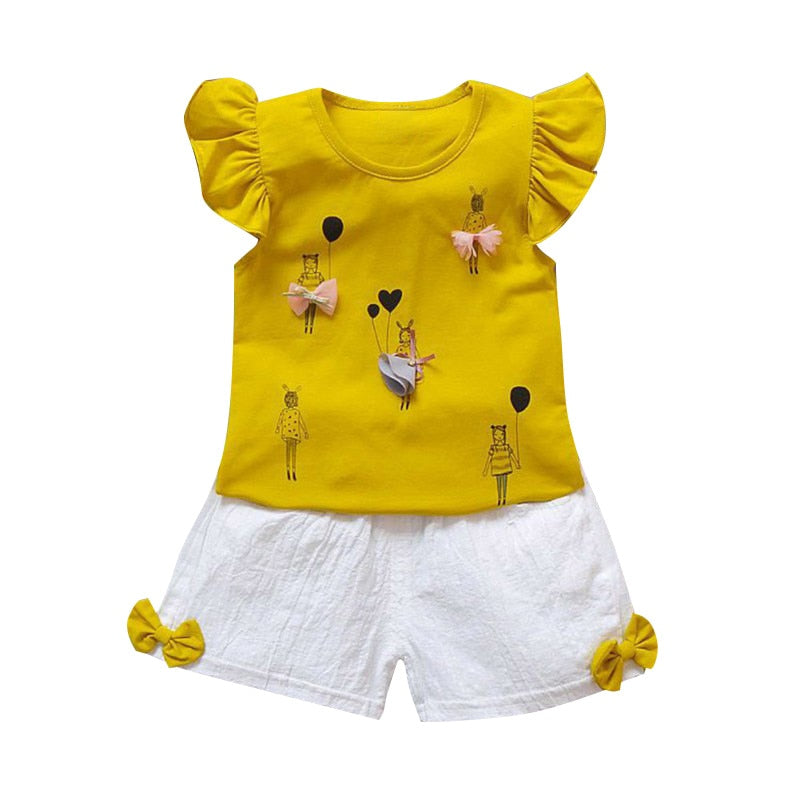 oddler Kids Suits 0-2T Baby Girl Clothes Summer Set Cotton Newborn Girls Set Infant Clothing T-shirt+Shorts Outfit T