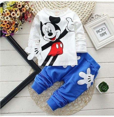 Children's Mickey Mouse Printed Jacket + Pant 2pcs Outfit Set