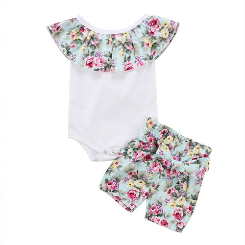 Lovely Toddler Newborn Infant Baby Girl Clothes Set Bodysuit Sleeveles Jumpsuit Tops Floral Shorts 2Pcs Outfit Clothing