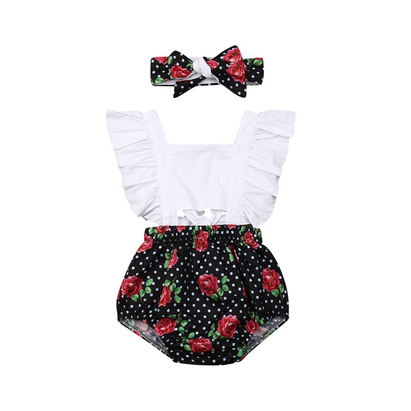 Newborn Baby Girls Bodysuit + Headband 2Pcs Clothing Set