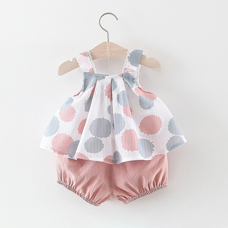 Newborn Baby Girls Vest Top + Short Clothing Set