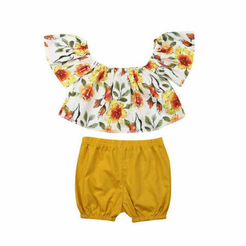Kids Baby Girl Clothes Floral Sleeveless Ruffled Tops+Shorts Outfits 2Pcs Set Cute Newborn Clothing