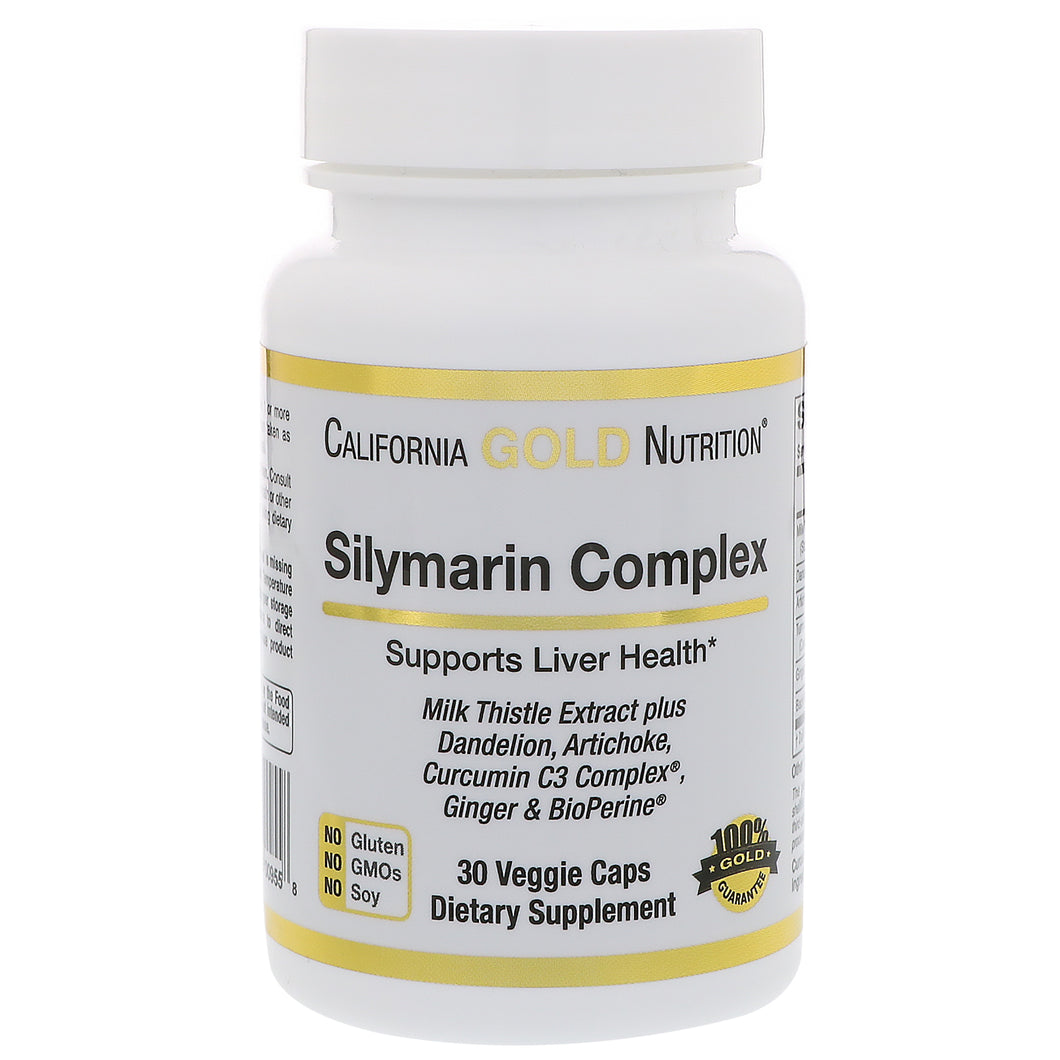 California Gold Nutrition, Silymarin Complex, Liver Health, Turmeric Milk Thistle Extract Plus Artichoke & Dandelion with BioPerine, 300 mg