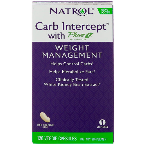 Natrol, Carb Intercept with Phase 2 Carb Controller, 120 Veggie Capsules