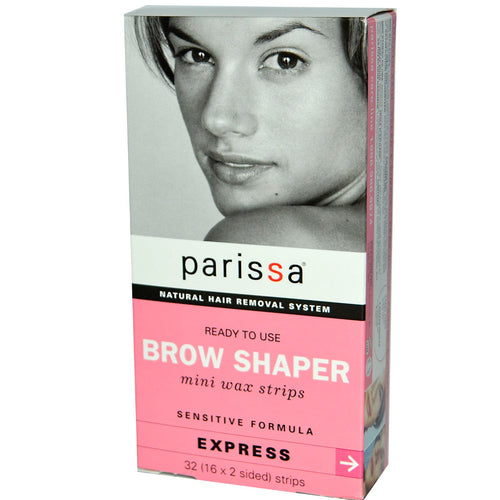 Parissa, Natural Hair Removal System, Brow Shaper, Mini Wax Strips, 32 (16 x 2 sided) Strips