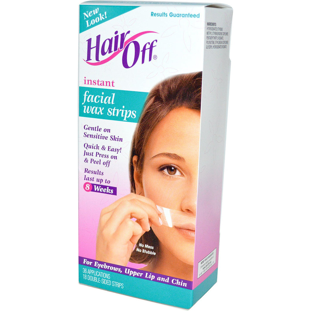Hair Off, Instant Facial Wax Strips, 18 Double-Sided Strips