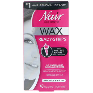 Nair , Hair Remover, Wax Ready-Strips, For Face & Bikini, 40 Wax Strips + 4 Post Wipes