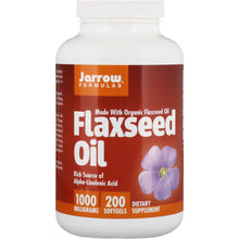Load image into Gallery viewer, Jarrow Formulas, Organic, Flaxseed Oil, 1,000 mg, 200 Softgels