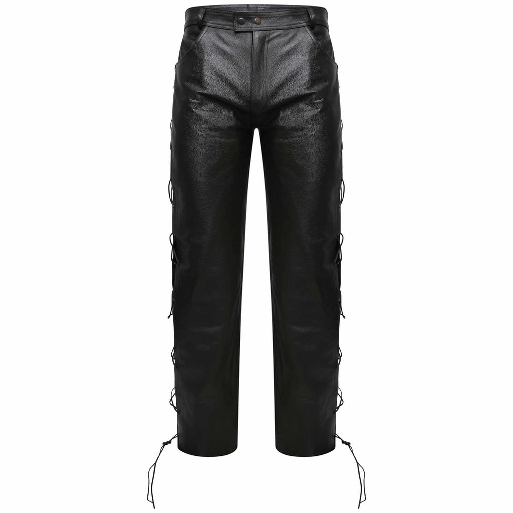 5630c11fed78 Mens Motorbike Real Leather Side Lace Black Biker Trouser Motorcycle Jeans  Style Pants - Star Enterprize