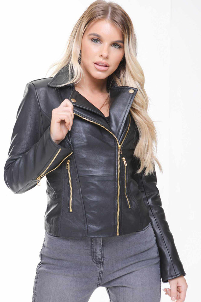 WOMEN LADIES LEATHER JACKET BLACK SLIM FIT LAMBSKIN LEATHER JACKET BIKER STYLE