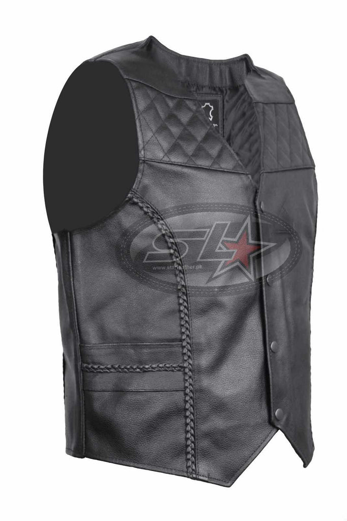 Sides Laces Biker Vest Braided Fish Hook Buckle New Mens Leather Waistcoat