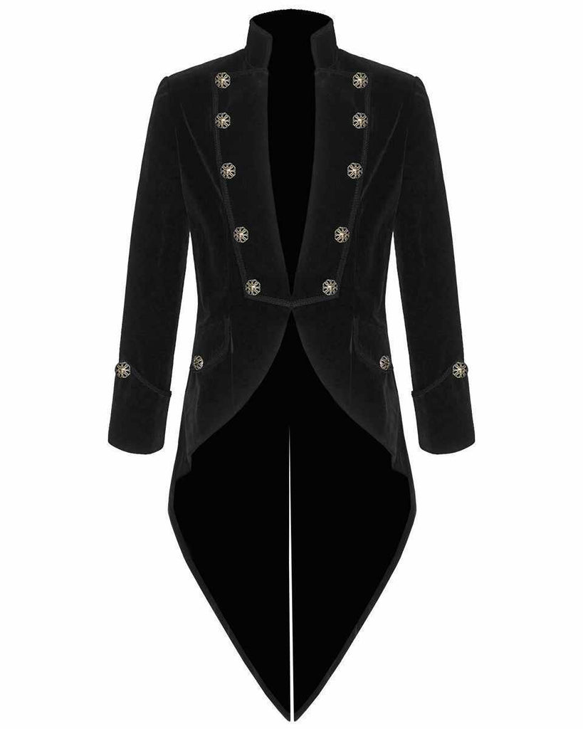 New Mens Steampunk Tailcoat Jacket Velvet Gothic Victorian Blue Frock Coat