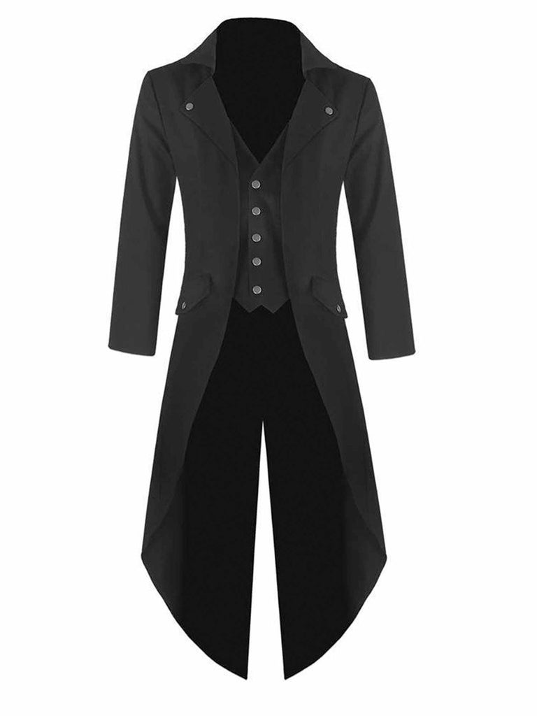 Mens Steampunk Black Tailcoat Gothic Jacket Victorian Coat Party Dress