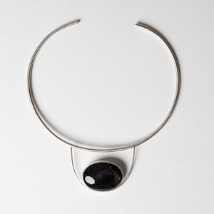 Silver Sheen Obsidian Collar Necklace