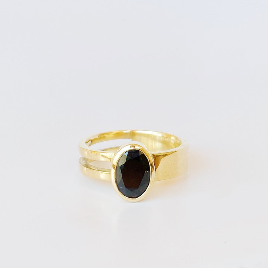 Augusta Ring with Bezel Set Black Spinel