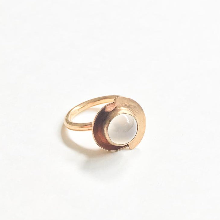 Gold plated cocktail ring with moonstone and modern design