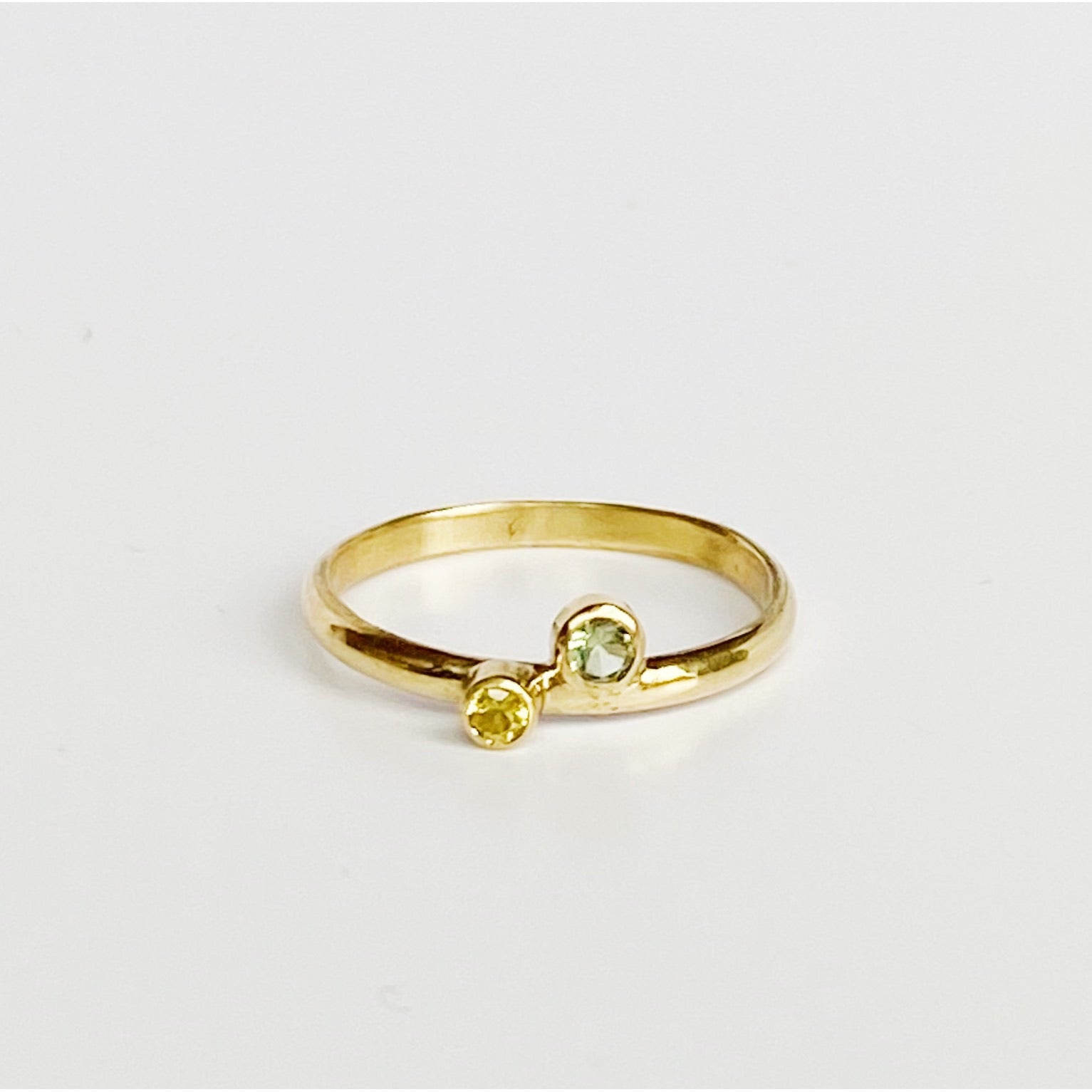 Delicate Double Sapphire Gold Ring