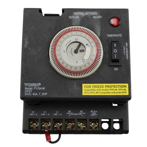 P1100 Series Swimming Pool Timers, 24 Hour Electromechanical Control, 240  VAC Input Supply with Fireman Switch, DPST Contact, 40A Resistive/Inductive  ...