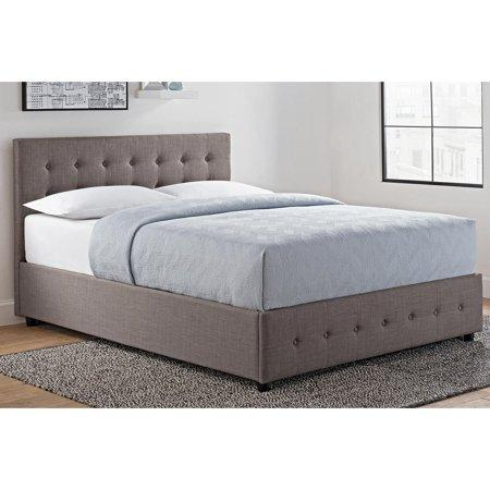 best cheap 858b9 029db DHP Cambridge Upholstered Bed with Storage, Gray Linen, Multiple Sizes