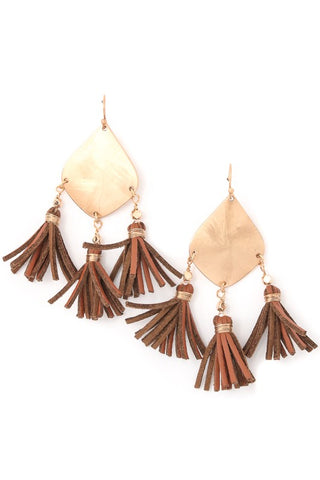 leather camel tassels