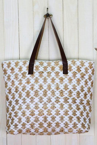 large hand loomed jacquard tote