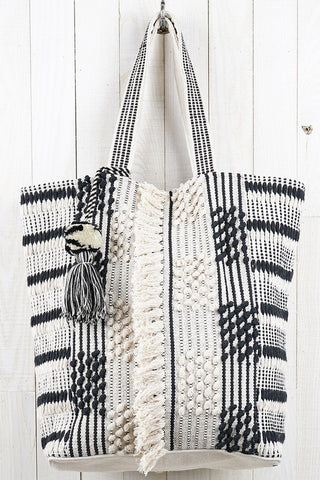 hand loomed pom tote