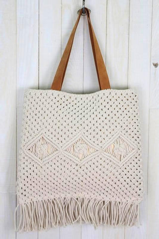 hand macrame suede tote