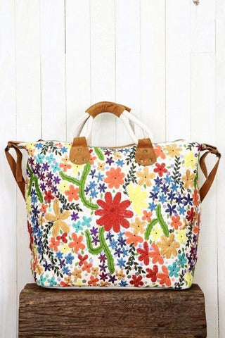 suede embroidered floral weekender
