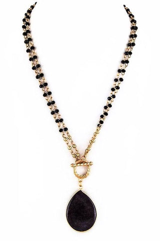 semi precious teardrop in black