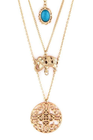 elephant medallion layered necklace