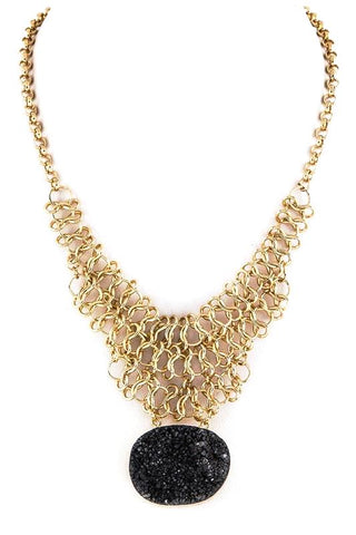 druzy waffle necklace in black