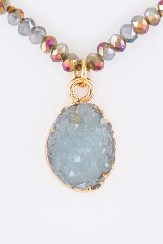 druzy encrusted drop in mint