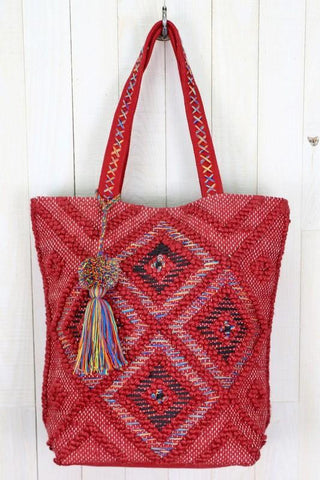 Rainbow thread hand loomed tote