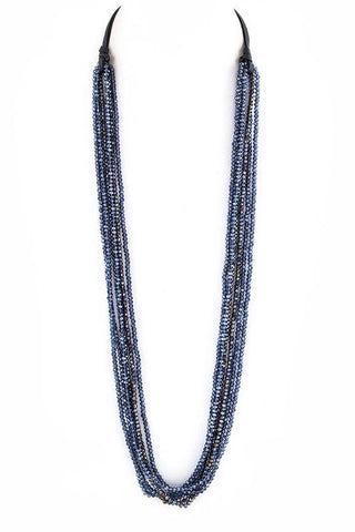 glass bead draped suede necklace