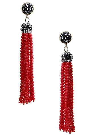 glass bead tassels in red