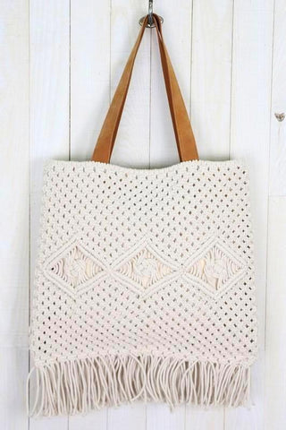 hand woven macrame & suede tote