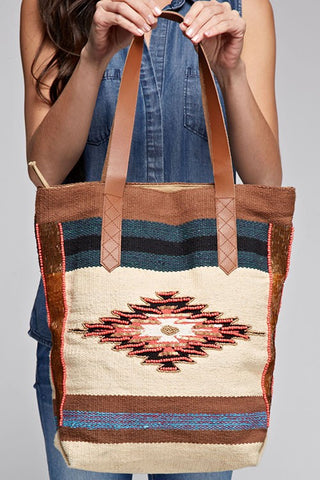leather navajo tote