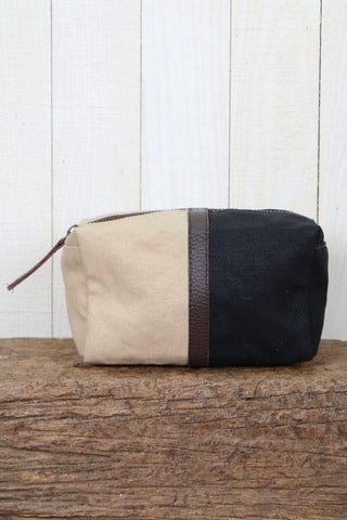 canvas and leather makeup bag